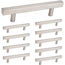 Brushed Nickel Kitchen Cabinet Door Handles - Homdiy HDJ22SN 3-3/4in (96mm) Hole Centers Square Furniture Cupboard Wine Drawer Handles Knobs Stainless Steel 10 Pack