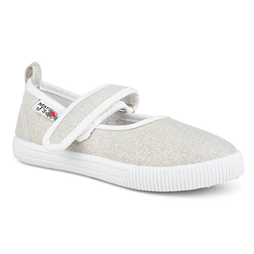 [SBM102P-SLV-T5] Girls Mary Jane Canvas Sneakers - Silver Canvas Casual Shoes - Mary Jane Canvas Sneakers