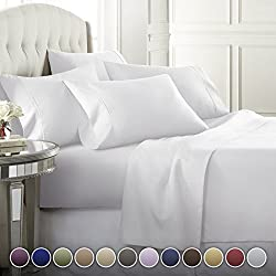 6 Piece Hotel Luxury Soft 1800 Series Premium Bed Sheets Set, Deep Pockets, Hypoallergenic, Wrinkle & Fade Resistant Bedding Set(King, White)