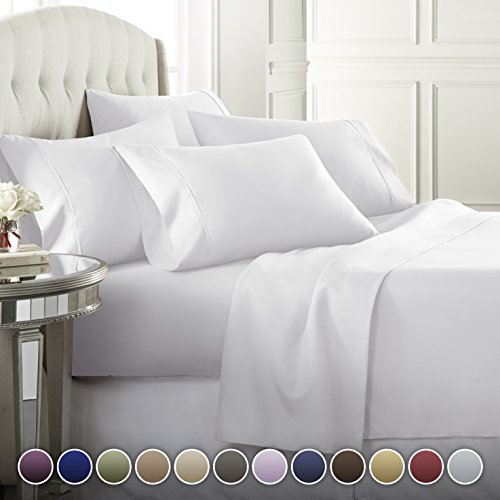 6 Piece Hotel Luxury Soft 1800 Series Premium Bed Sheets Set, Deep Pockets, Hypoallergenic, Wrinkle & Fade Resistant Bedding Set(King, White) from Danjor Linens