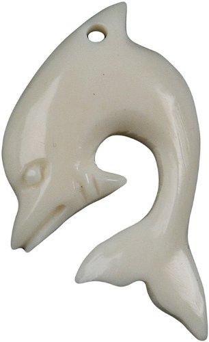 Bone Pendant - Dolphin, Two (Pendant Bone Carving Dolphin)