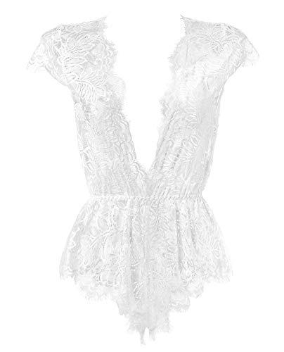 - Anyou Women Lingerie V Neck Lace Bodysuit Mini Babydoll Features Plunging Eyelash XXL-White