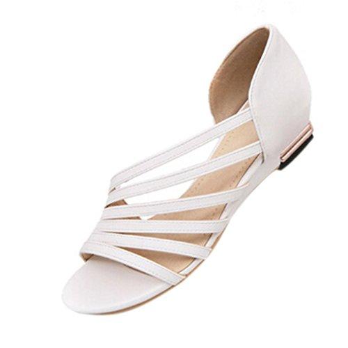 Hee Grand Women Gladiator Slip on Flat Strappy Sandals US 7 White