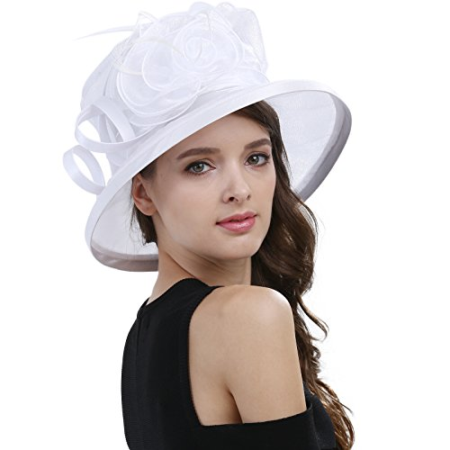 Janey&Rubbins Women's Kentucky Derby Racing Horse Organza Hat Church Wedding Dress Party Occasion Cap (White)