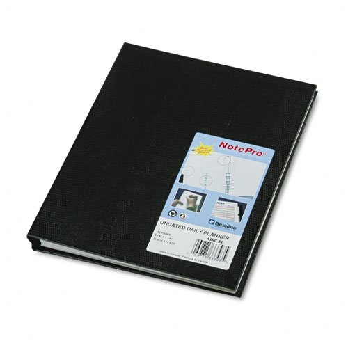 Notepro Undated Daily Planner (Blueline : NotePro Undated Daily Planner, 9-1/4 x 7-1/4, Black -:- Sold as 2 Packs of - 1 - / - Total of 2)