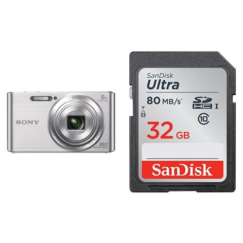 Sony DSCW830 20.1 MP Digital Camera 2.7-Inch LCD (Silver) with SanDisk 32GB Ultra Class 10 Memory Card