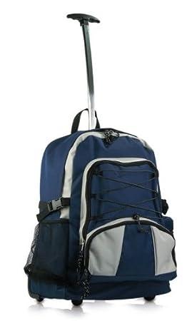 Mochila con ruedas para senderismo, gimnasio, escuela, color azul marino: Amazon.es: Deportes y aire libre