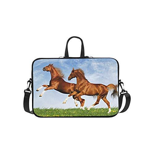 Two Horses Frolic On The Plain Pattern Briefcase Laptop Bag Messenger Shoulder Work Bag Crossbody Handbag for Business ()