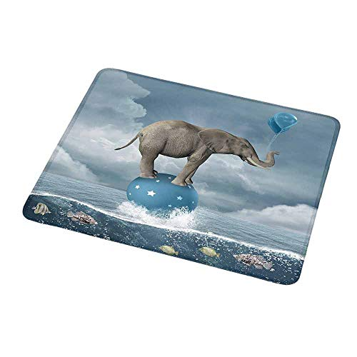 Mouse Pad Unique Custom Quirky Decor,Elephant with Balloons on Sea Fish Fantasy Circus Animal Balance Surreal,Blue White Grey,Mousepad Great for Laptop,Computer 9.8