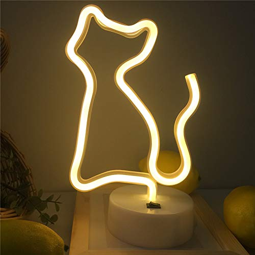 Qunlight Neon Night Light Cat Shaped with Warm White USB & Battery Powered Hanging Wedding Sign, Novelty Wall Decor,Birthday Party,Kids Room, Living Room,Bedroom,or Bar(Cat)