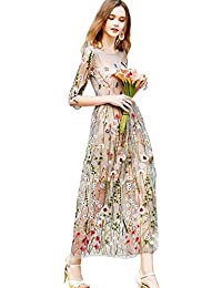 Womens Sheer Embroidered Floral Evening Dress with Cami Dress
