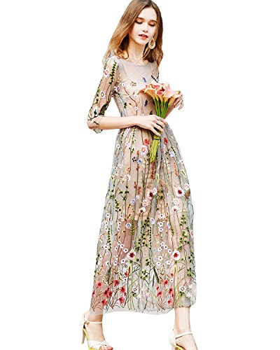 Fitaylor Women's Sheer Embroidered Floral Evening Dress with Cami Dress (8) ()
