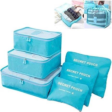 6 juegos – Cubos de embalaje organizadores con bolsa de zapatos de viaje Essential equipaje bolsas de almacenamiento de compresión azul azul