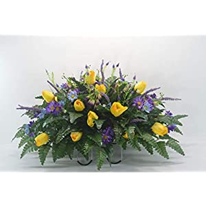 R39 Cemetery Flower Arrangement, Headstone Saddle, Grave, Tombstone Arrangement, Cemetery Flowers 2