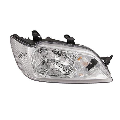 HEADLIGHTSDEPOT Chrome Housing Halogen Headlight Compatible with Mitsubishi Lancer 2002-2003 Includes Right Passenger Side Headlamp