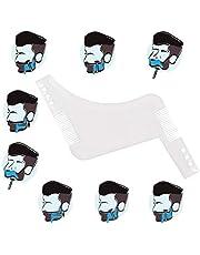 yagot Herramienta de Peinado de Barba, Peine para Barba Kit de Belleza para Hombres, Tijeras de Afilado por láser para peluquería y Kit de moldes para Barba