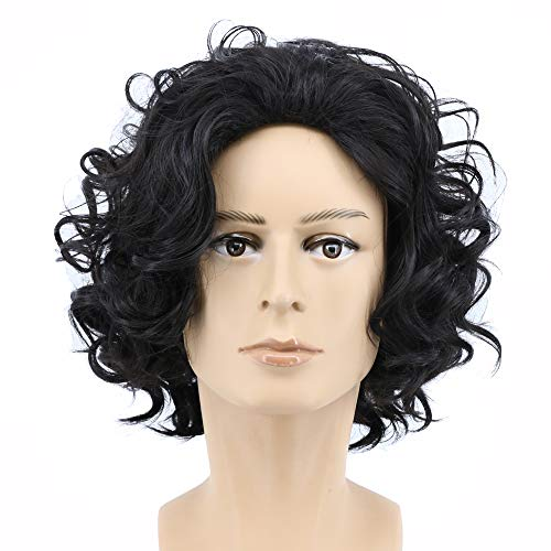 Yuehong Short Curly Natural Black Color Anime Men Cosplay Wig Synthetic Halloween Costume Hair ()
