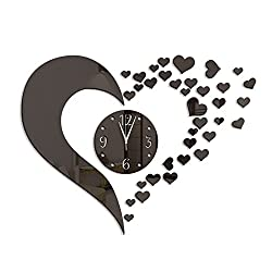 Love Heart Shape Wall Clock Stickers,DIY Art Large Size Acrylic Mirror Wall Decals,Home Decorative Contemporary Modern Style (black)