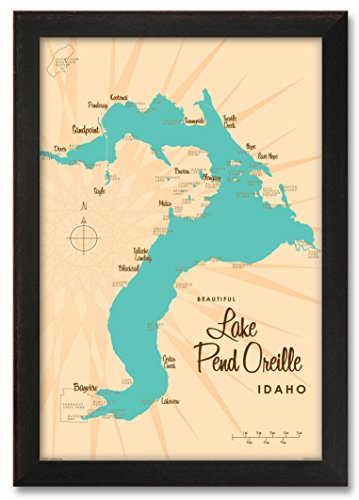 Northwest Art Mall Lake Pend Oreille Idaho Map Professionally Framed Wall Decor by Lakebound Print Size: 24