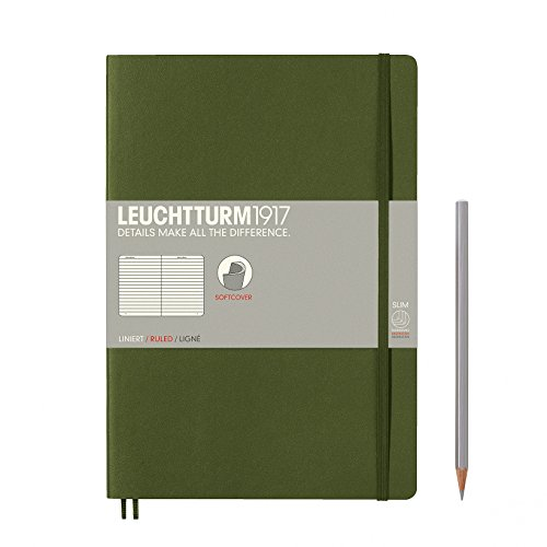 "Leuchtturm 1917 Army Green Soft Cover Journal, Slim 7"" x 10"" - Ruled/Lined"