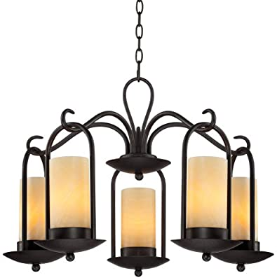 """Onyx Faux Stone Candle 30"""" Wide Indoor-Outdoor Chandelier"""