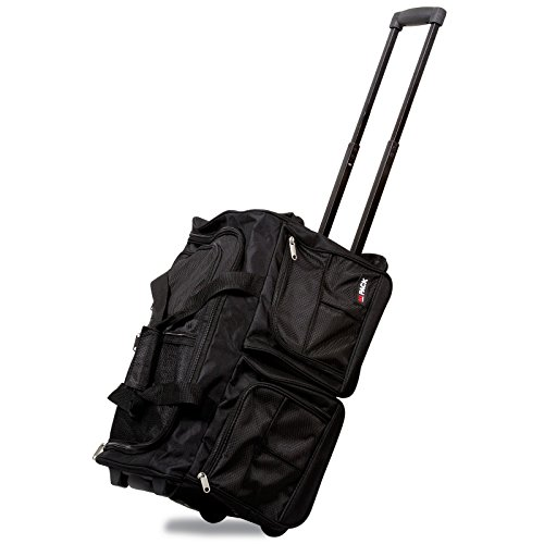 Hipack 20-inch Carry-on Rolling Duffle Bag Duffel, Black, One Size