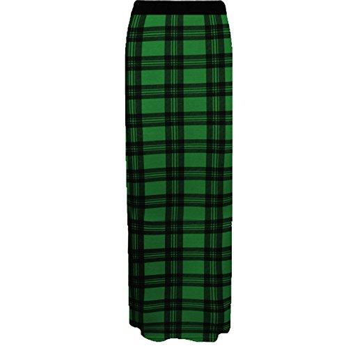 Jersey t Gypsy Longue Jupe Maxi Femmes Moulante GirlzWalk Jupe Vert Tartan aPF1q4wq