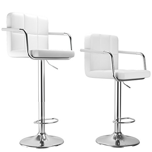 HOMDOX Modern PU Leather Adjustable Bar Stools with Armrest, Square Back Swivel Hydraulic Barstool,Set of 2,Height 24 - 32.7 inch (White)