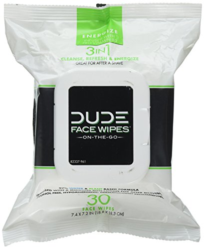 Dude Products Face Wipes for Normal Skin, 30 Count