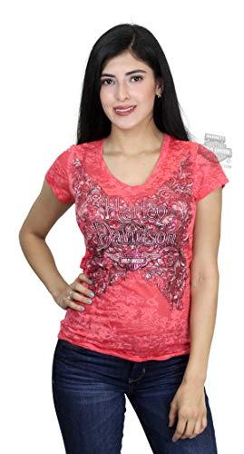 Harley-Davidson Womens Victorian Winged B&S Burnout V-Neck Pink Shirt (Medium)