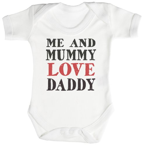 TRS - Me And Mummy Love Daddy Baby Bodys / Strampler 0-3 Monate weiß