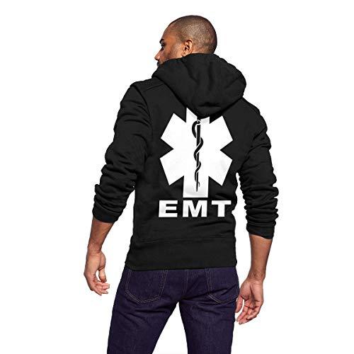 Sportswear Mens Sherpa Lined Fleece Full-Zip Athletic-Fit Hoodie Sweatshirt Pullover Jacket Lightweight Drawstring Coat, EMT Star of Life Medical (2)