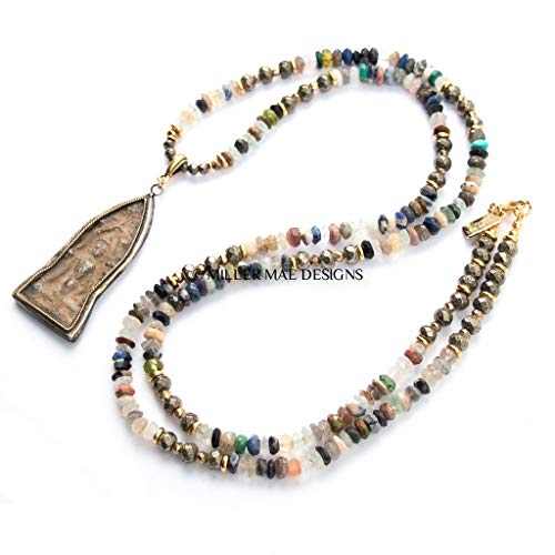 Thai Clay Buddha Pendant on Semiprecious Gemstone Mix Necklace - 33 Inches Long Handmade Beaded Necklace by Miller Mae Designs