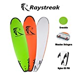 "RAYSTREAK 7'2"" Crocodile Groove Soft Surfboard Beach Ocean Surfing Body Foamie Board(Orange)"
