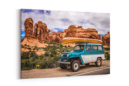 (Red Rock Jeep Canoe and Transport in United States - Canvas Wall Art Gallery Wrapped 18