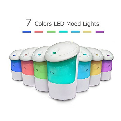 USB Car Essential Oil Diffuser Air Refresher Portable Aromatherapy Ultrasonic Humidifier with 7 color LED lights for Travel Vehicle Office Home