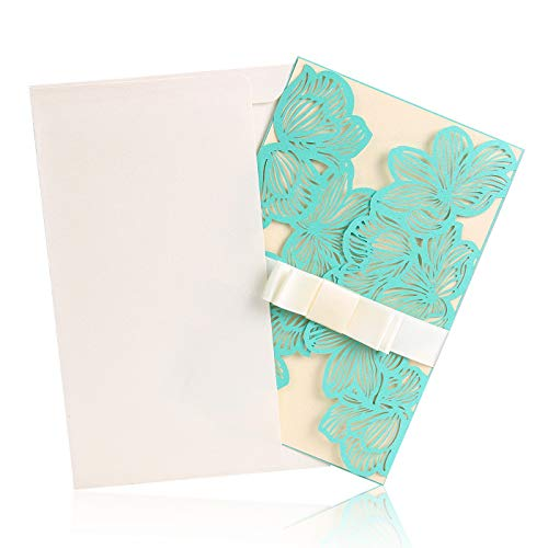 BingGoGo 12x Pearl Paper Laser Cut Invitations , For Baby Shower, Wedding, Mother