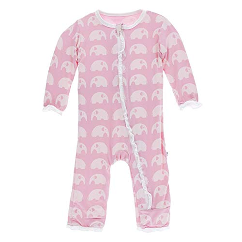 Kickee Pants Little Girls Essentials Print Layette Classic Ruffle Coverall with Zipper - Lotus Elephant, 3-6 Months ()