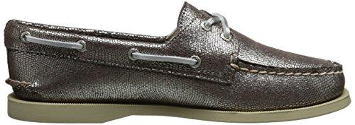 Sperry A/O 2-Eye Leather 9195017 - Zapatillas de gimnasia de cuero para mujer plateado