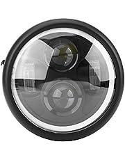 Keenso Motorfiets led Koplamp, 6.5 inch Ronde Motorfiets LED Koplamp 12 V Motorfiets Koplamp Lamp Projector, Ronde LED met Witte Halo Angel Eye voor Sportster Cafe Racer Bobber