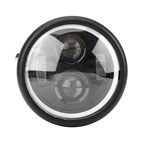 """6.5"""" Round Motorcycle LED Headlight Head Lamp, 12V Motorcycle Headlight Lamp Bulb Projector, Round LED with White Halo Angel Eye"""
