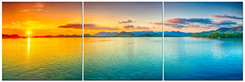 Canvas Wall Art Decor - 24x24 3 Piece Set (Total 24x72 inch) - Panoramic Coastal Ocean Sunset - Large Decorative & Modern Multi Panel Split Prints for Dining & Living Room, Kitchen, Bedroom & Office