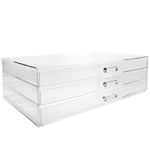 Ikee Design Premium Acrylic 3 Drawer Makeup Organizer Cosmetic Storage Jewelry Display Case
