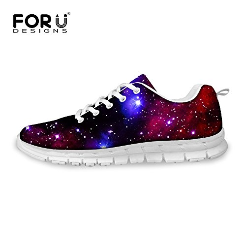 FOR U DESIGNS Shine Night Sky Style Women's Breathable Lace Up Fashion Sneaker Comfortable Running Shoes US 8