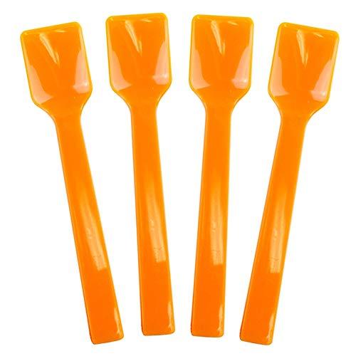 Orange Plastic Gelato Tasting Spoons - 4 Inch Mini Disposable Shovel Spoons for Sampling Yummy Desserts, Foods & Ice Cream - Fast Shipping - Frozen Dessert Supplies - 100 Count