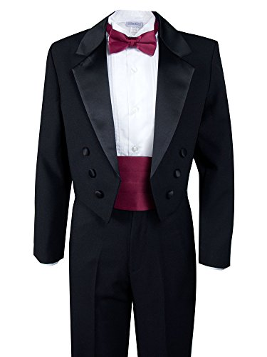 Spring Notion Boys' Black Classic Tuxedo with Tail Burgundy 10]()