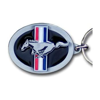 Ford Mustang Pony & Bar Logo Metal Key Chain