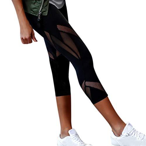 Thenxin Women's Cropped Yoga Leggings Mesh Stretch Skinny Compresion Sports Fitness Pants(Black,L)