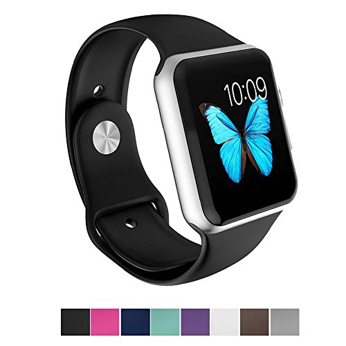 Silicone 38mm Watchband for iWatch Apple (Black) - 3