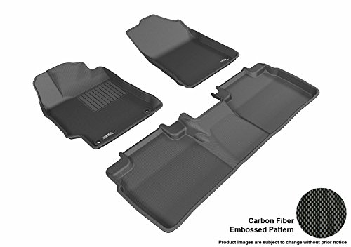 Select Toyota Camry Models - 3D MAXpider Complete Set Custom Fit All-Weather Floor Mat for Select Toyota Camry/Camry Hybrid Models - Kagu Rubber (Black)